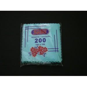 Serwetka ząbkowana niebieska 15x15 cm – 200 szt.