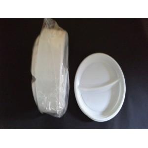 Talerz obiadowy plastikowy 22 cm dwudzielny - 100 szt.